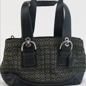 Coach F10927 Black/Grey Jacquard Leather Satchel